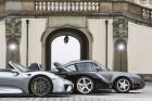 Drei Porsche-Supersportwagen unter sich: 918 Spyder, Carrera GT und 959 (von links)